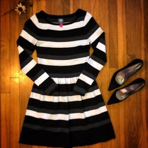 Vince Camuto striped long sleeve dress